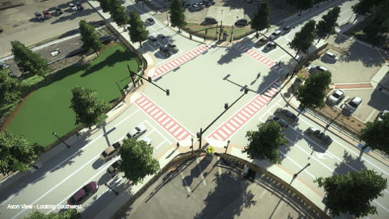Rendering of proposed intersection improvements at Edgell/Water/Edmands