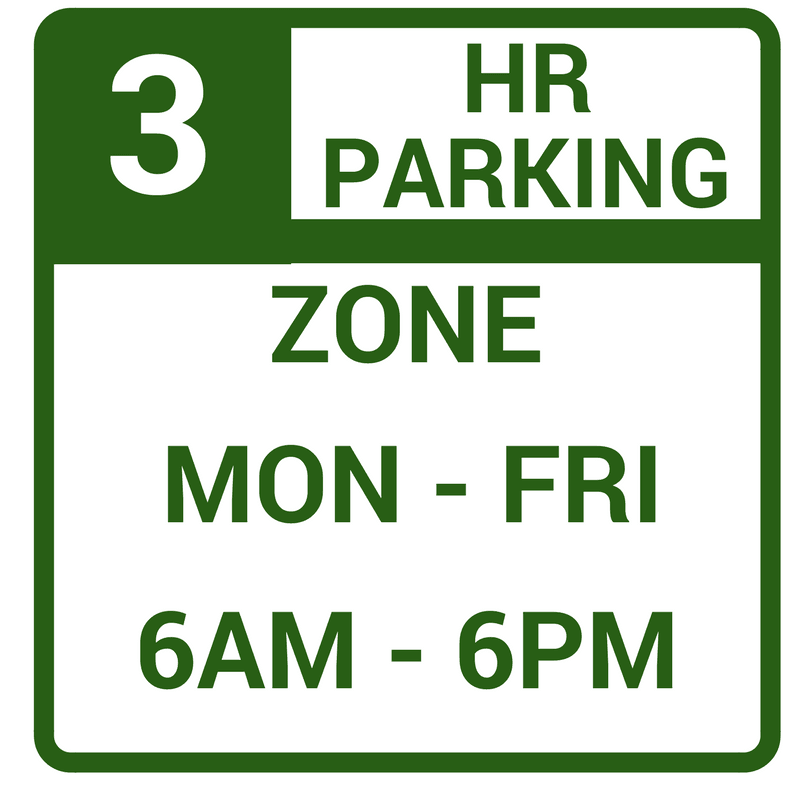 Image of Green and White 3 Hour Parking Sign