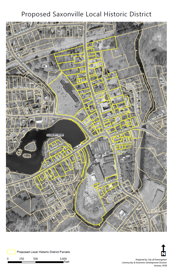 Proposed Saxonville Local Historic District Map
