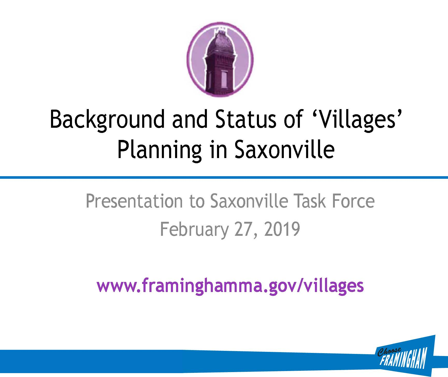 image of front slide of presentation on Saxonville on Feb 27, 2019