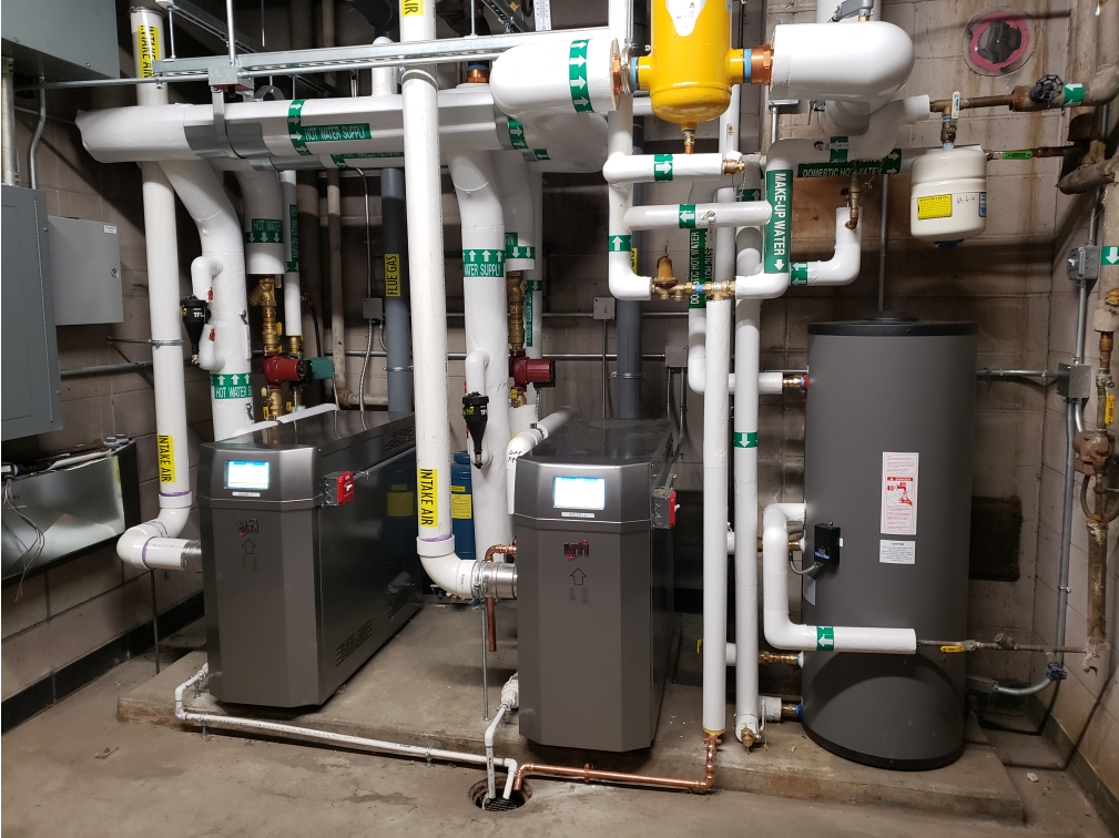 Boilers installed at the Fire Department.