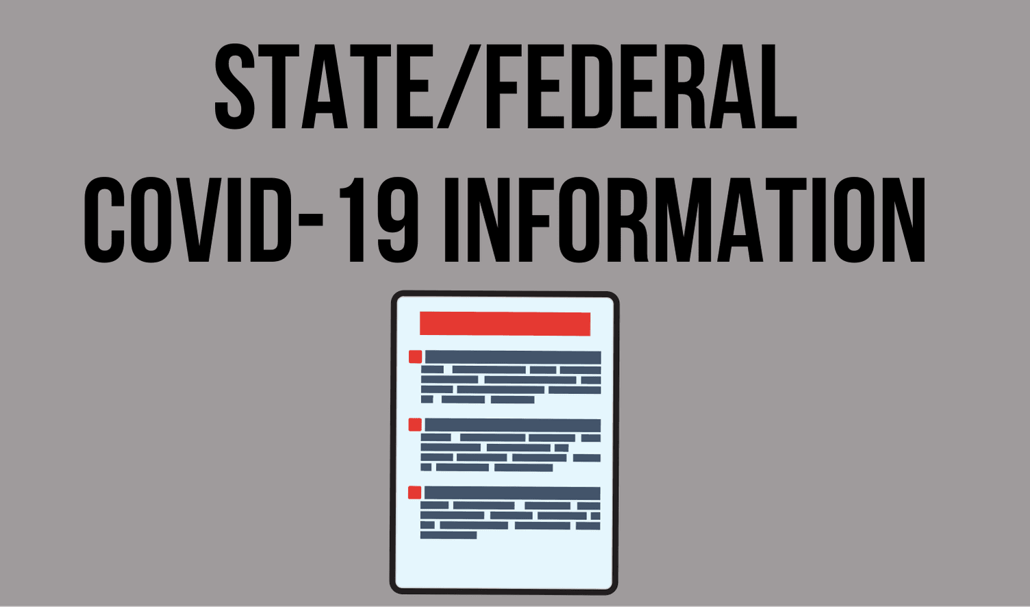 Image of an information sheet with the following text: State/Federal Information