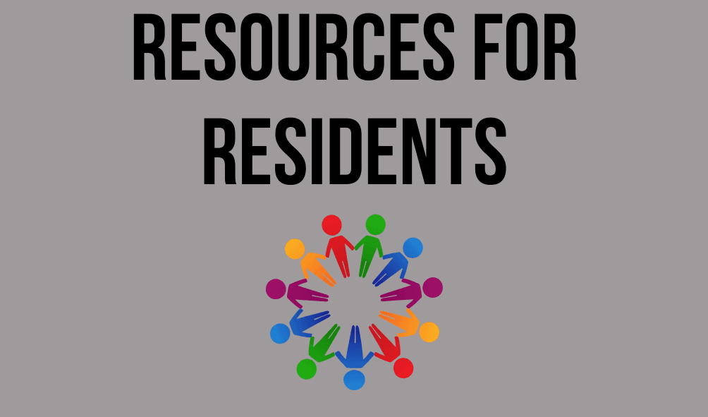 Image of people uniting with the following text: Resources for Residents
