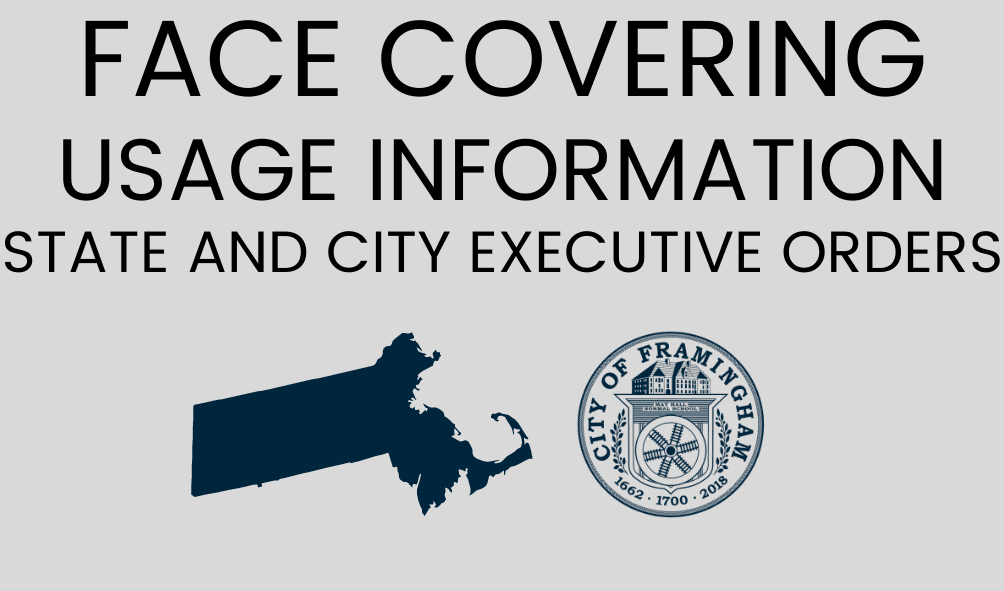 Photo of the City Seal and the State of Massachusetts, text: Face Covering Usage Information, State