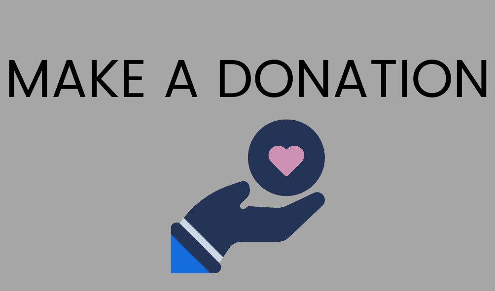 Text: Make a Donation and a photo of a hand holding a heart
