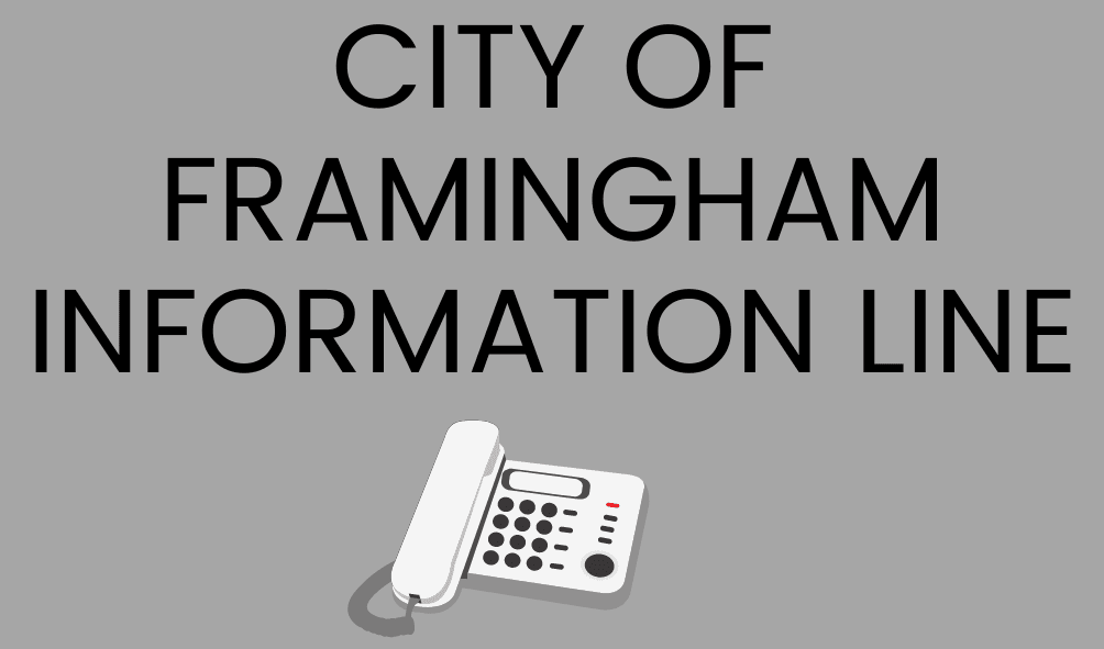 Text: City of Framingham Information Line, Image of a telephone