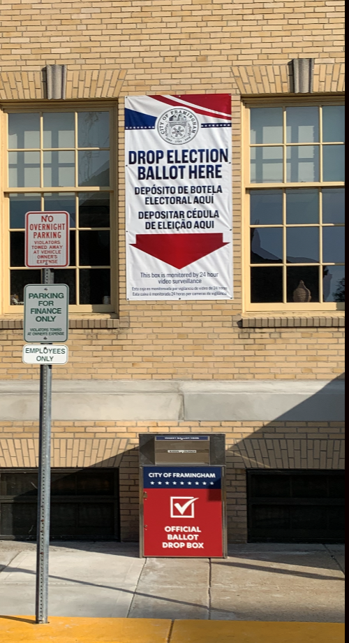 image showing the election ballot box outside of the Memorial Building