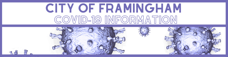 Purple graphic with photo of viruses. Text: City of Framingham COVID-19 Information