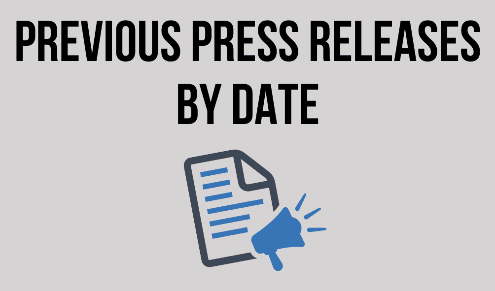 Text: Previous Press Releases by Date. Image of a press release with a megaphone.