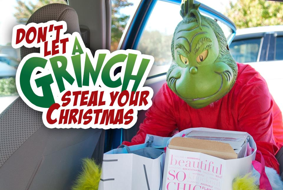 IMAGE SHOWING THE GRINCH STEALING GIFTS FROM A CAR