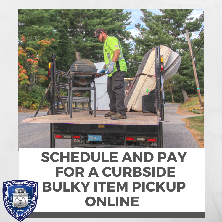 Text: Schedule and pay for a curbside bulky item online. Photo of bulky item pickup.