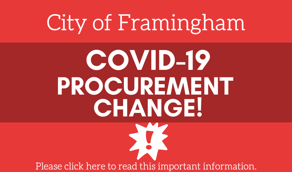 Red square button with an exclamation point and the following text: City of Framingham, COVID-19 Pro